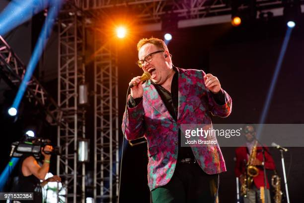 Paul Janeway of St Paul and The Broken Bones performs at the Bonnaroo Music Arts Festival on June 10 2018 in Manchester Tennessee