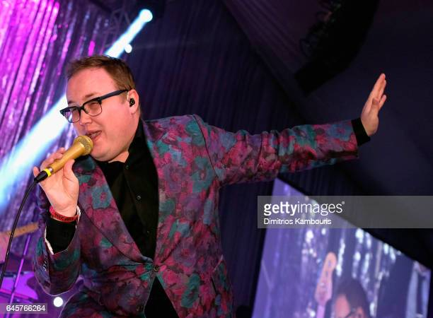Paul Janeway of St Paul and The Broken Bones performs during the 25th Annual Elton John AIDS Foundation's Academy Awards Viewing Party at The City of...