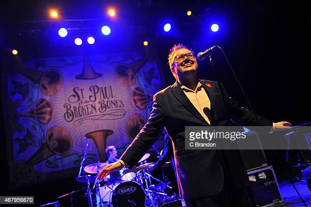 Paul Janeway of St Paul and The Broken Bones performs on stage at O2 Shepherd's Bush Empire on March 28 2015 in London United Kingdom