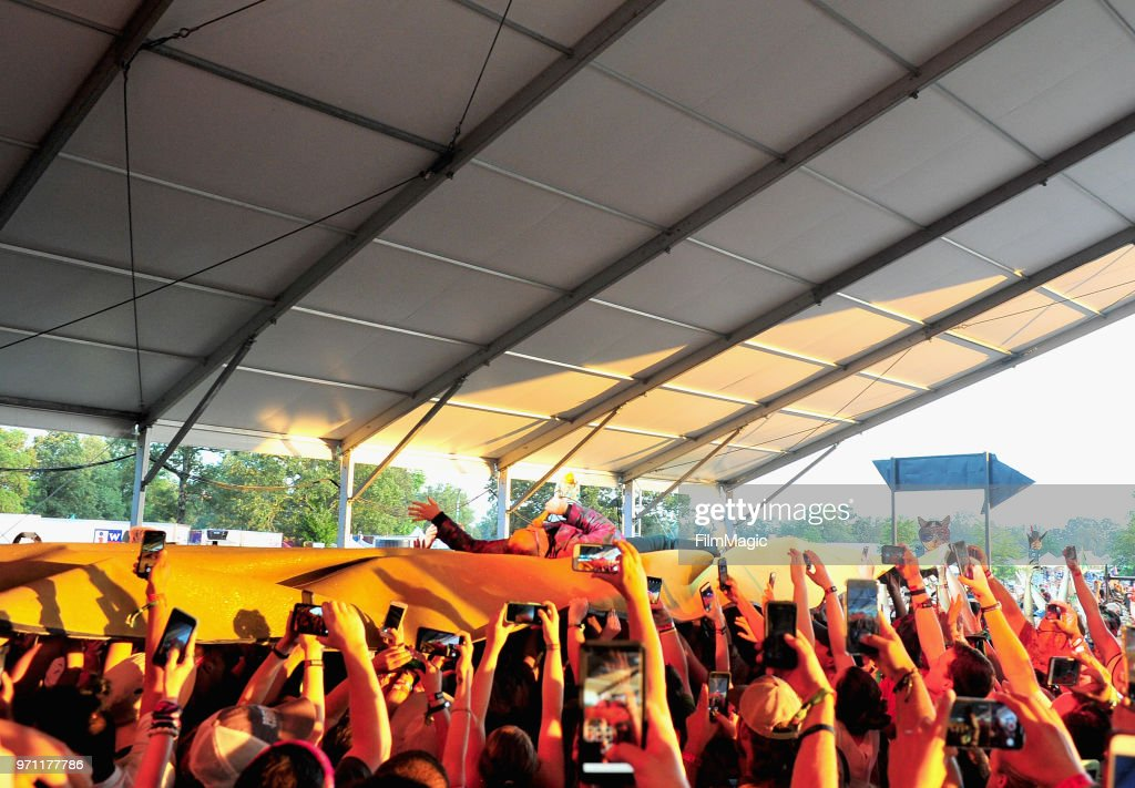 Paul Janeway of St. Paul & the Broken Bones crowd surfs at That Tent during day 4 of the 2018 Bonnaroo Arts And Music Festival on June 10, 2018 in Manchester, Tennessee.