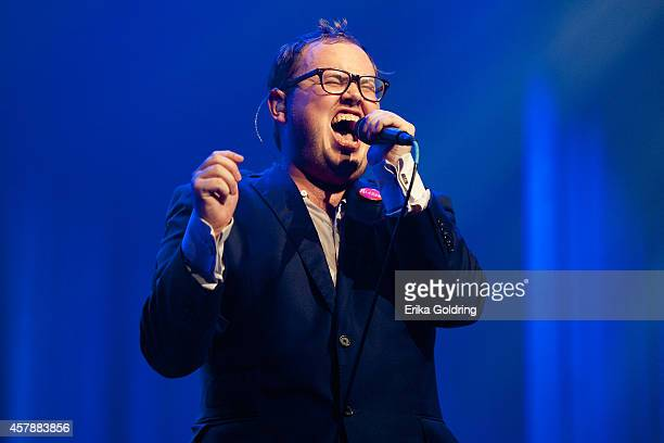 Paul Janeway of St Paul The Broken Bones performs at the Ryman Auditorium on October 25 2014 in Nashville Tennessee