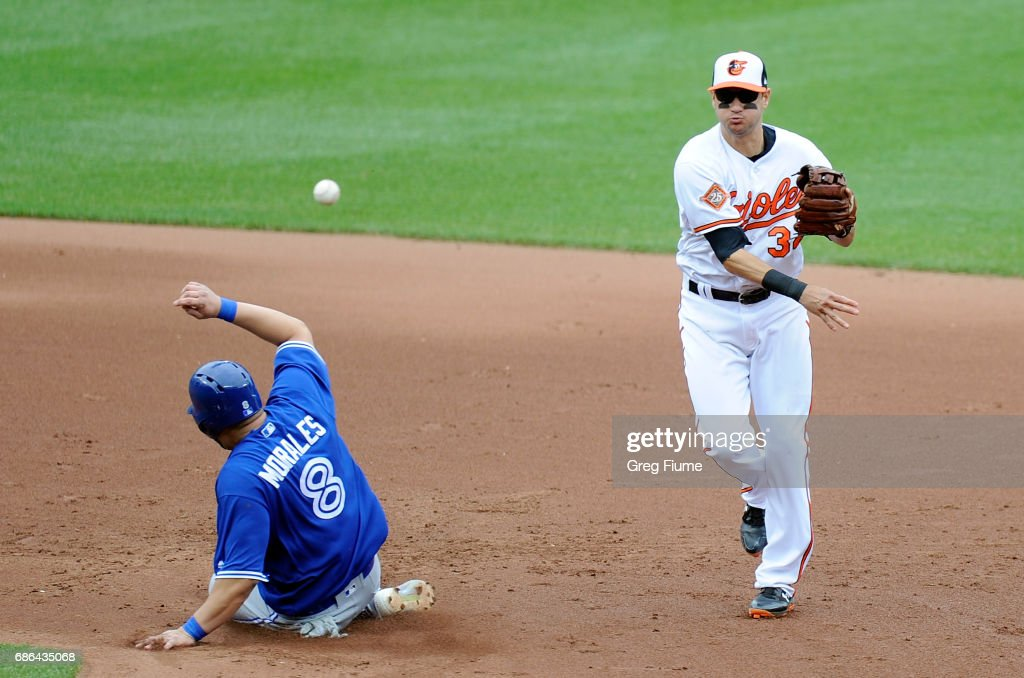 Paul Janish #34 of the Baltimore Orioles throws the ball to first base after forcing out Kendrys Morales #8 of the Toronto Blue Jays in the sixth inning at Oriole Park at Camden Yards on May 21, 2017 in Baltimore, Maryland.