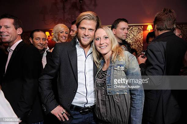 Paul Janke 'The Bachelor' and his sister Anna attend the Bachelor Party at Cafe Keese on February 22 2012 in Hamburg Germany