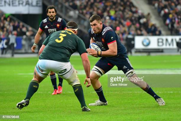 Paul Jedrasiak of France takes on Wilco Louw of South Africa during the test match between France and South Africa at Stade de France on November 18...