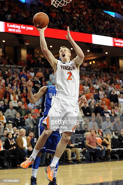 Paul Jesperson of the Virginia Cavaliers goes to the hoop against the Duke Blue Devils at John Paul Jones Arena on February 28 2013 in...