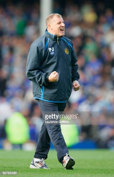 Paul Jewell of Wigan celebrates his sides victory during the Barclays Premiership match between Everton and Wigan Athletic on September 24, 2005 at...