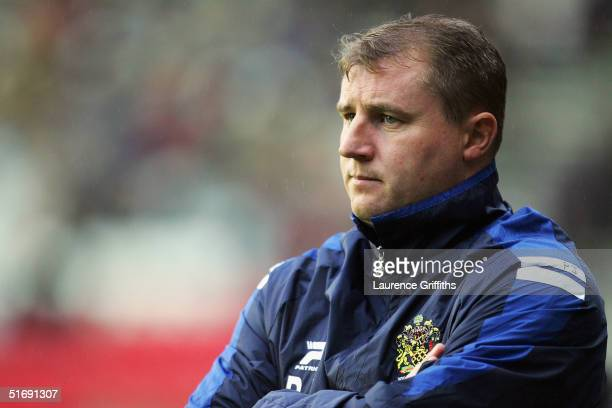 Paul Jewell of Wigan looks on during the CocaCola Championship match between and Wigan Athletic and Plymouth Argyle at The JJB Stadium on November 6...