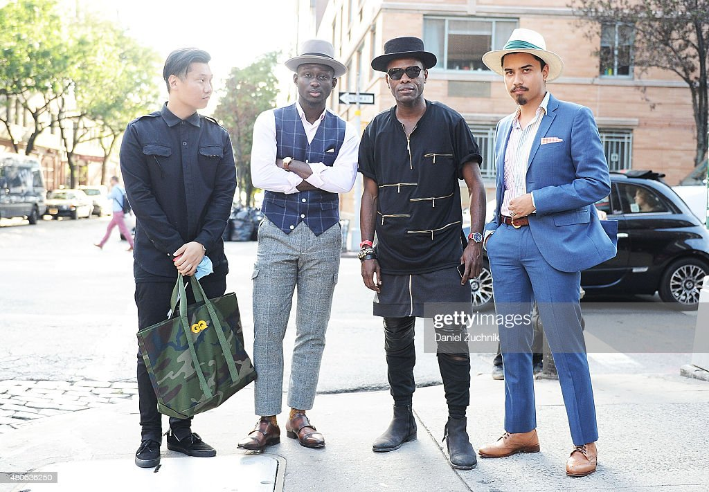 Paul Jin, Steven Onoja, Keino Benjamin and Denny Balmaceda are seen outside the Carlos Campos show during New York Fashion Week MenÕs S/S 2016 at Industria Studios on July 13, 2015 in New York City.