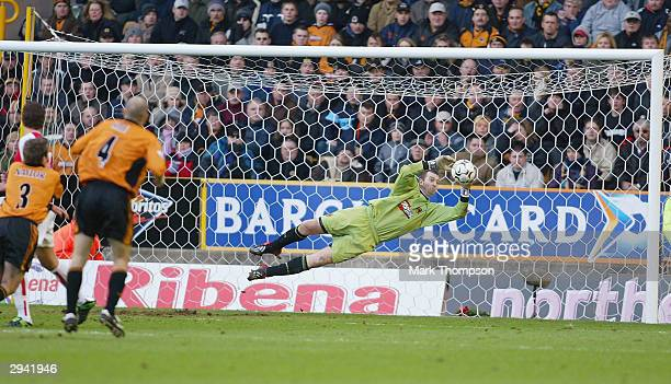 Paul Jones of Wolves makes a save during the FA Barclaycard Premiership match between Wolverhampton Wanderers and Arsenal at Molineux on February 7...