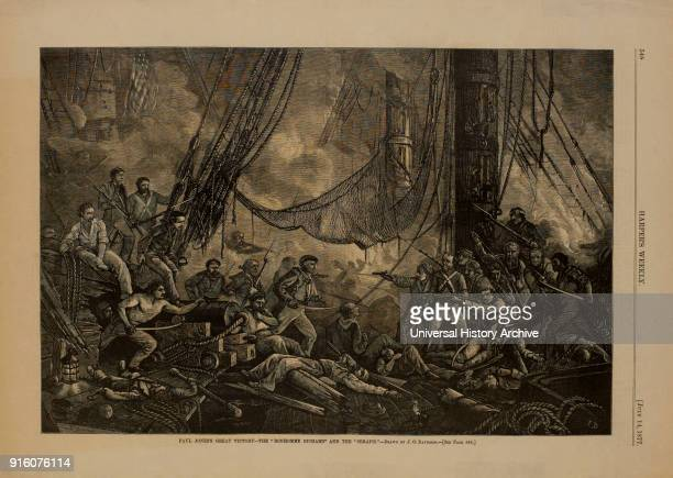 Paul Jones's Great Victory The 'Bonhomme Richard' and the 'Serapis' Drawn by JO Davidson Harper's Weekly July 14 1877