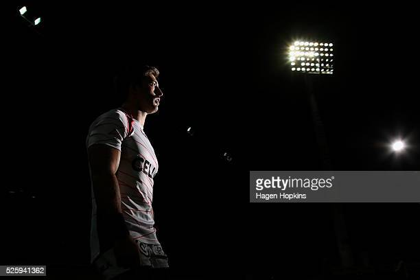 Paul Jordaan of the Sharks takes the field to warm up during the round 10 Super Rugby match between the Chiefs and the Sharks at Yarrow Stadium on...