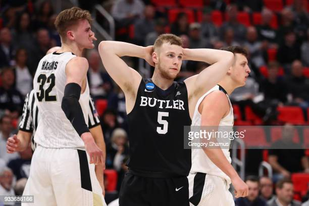 Paul Jorgensen of the Butler Bulldogs reacts during the first half against the Purdue Boilermakers in the second round of the 2018 NCAA Men's...