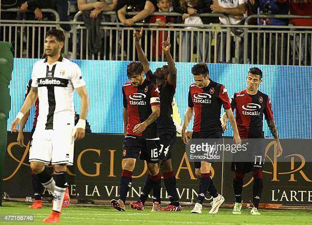 Paul Jose M'Poku of Cagliari celebrates a goal during the Serie A match between Cagliari Calcio and Parma FC at Stadio Sant'Elia on May 4 2015 in...
