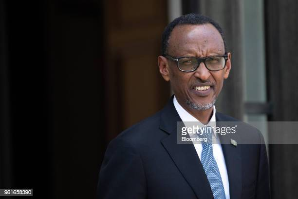 Paul Kagame, Rwanda's president, arrives for a meeting with Emmanuel Macron, France's president, at the Elysee Palace, in Paris, France, on...