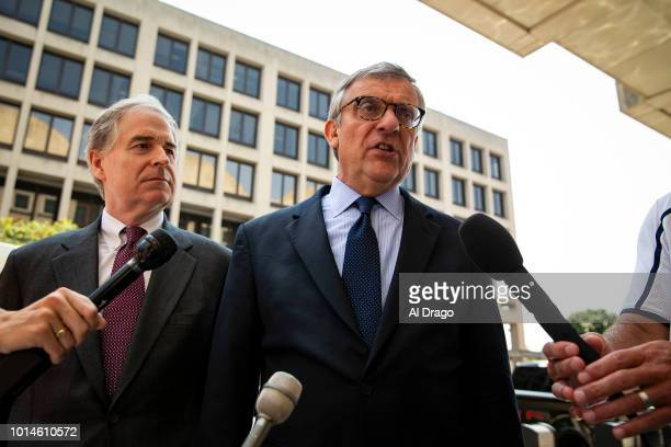 Paul Kamenar attorney for Roger Stone associate Andrew Miller speaks to reporters beside Peter Flaherty Chairman of the National Legal and Policy...