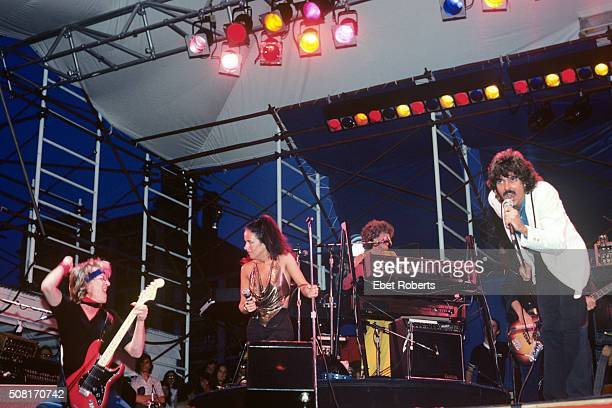 Paul Kantner Grace Slick and Mickey Thomas performing with Jefferson Starship at The Pier in New York City on June 27 1981