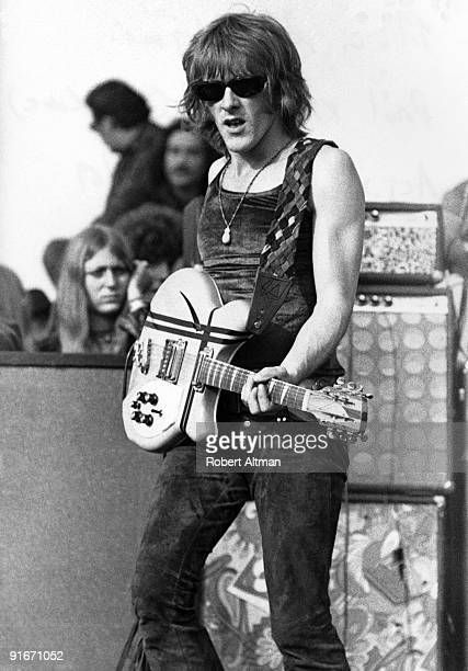 Paul Kantner of the Jefferson Airplane performs onstage at The Altamont Speedway on December 6 1969 in Livermore California