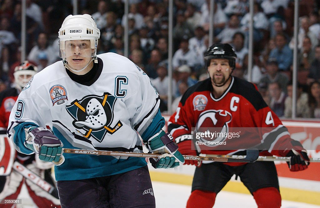 Paul Kariya #9 of the Mighty Ducks of Anaheim skates against the New Jersey Devils in game three of the 2003 Stanley Cup Finals May 31, 2003 at Arrowhead Pond of Anaheim in Anaheim, California. The Ducks defeated the Devils 3-2 in overtime.