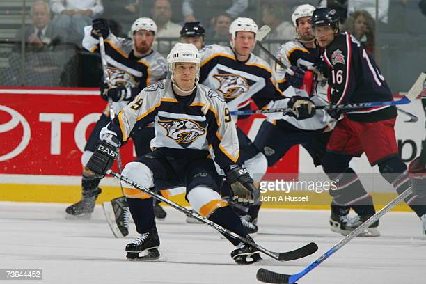 Paul Kariya of the Nashville Predators skates against the Columbus Blue Jackets at Nashville Arena on March 10 2007 in Nashville Tennessee