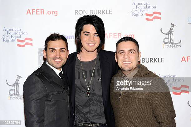 Paul Katami, recording artist Adam Lambert and Jeff Zarrillo arrive at Elton John's private benefit concert for the American Foundation for Equal...
