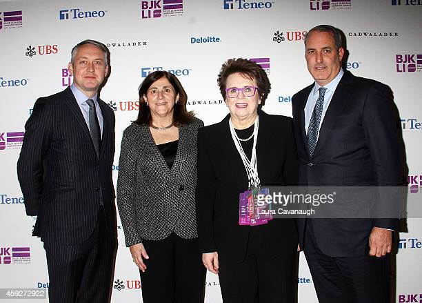Paul Keary Gracia Martore President and CEO of Gannett Billie Jean King and Doug Band attend the Billie Jean King Leadership Initiative Gala at...