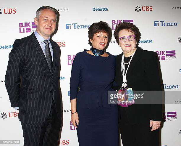 Paul Keary Valerie Jarrett and Billie Jean King attend the Billie Jean King Leadership Initiative Gala at Powerhouse at The American Museum of...