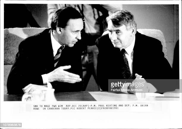 PM Paul Keating and Dep PM Brian Howe in Canberra today December 20 1991