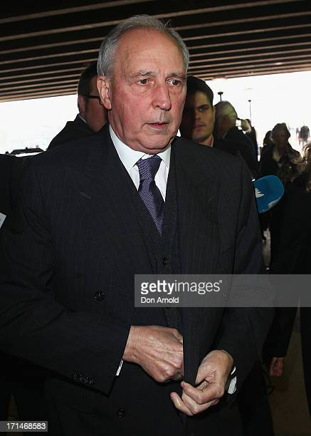 Paul Keating attends a state memorial service for the late Hazel Hawke exwife of former Australian Prime Minister Bob Hawke at the Sydney Opera House...