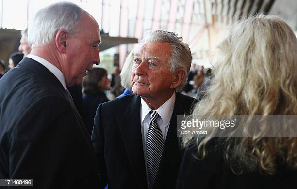 Paul Keating Bob Hawke and Annita Keating attend a state memorial service for the late Hazel Hawke exwife of former Australian Prime Minister Bob...