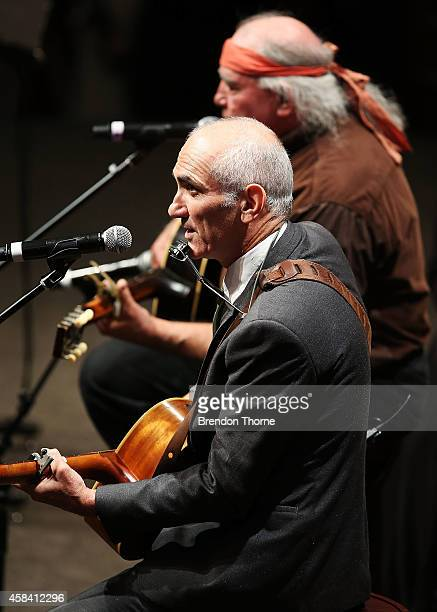 Paul Kelly and Kev Carmody perform at the state memorial service for former Australian Prime Minister Gough Whitlam at Sydney Town Hall on November 5...