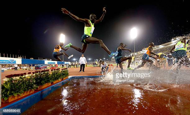 Paul Kipsiele Koech of Kenya competes in the 3000m Steeplechase during the 2014 Doha IAAF Diamond League at Qatar Sports Club on May 9 2014 in Doha...