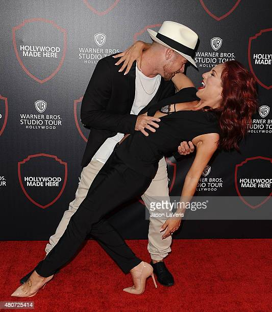 Paul Kirkland and Sharna Burgess attend the unveiling of Warner Bros. Studio expansion at Warner Bros. Studios on July 14, 2015 in Burbank,...