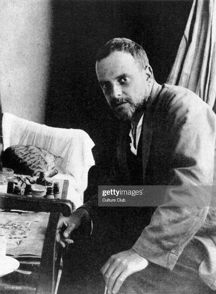 Paul Klee - portrait of the German / Swiss artist & painter in Possenhofen, Germany, 1921. : News Photo