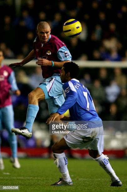 Paul Koncheskey of West Ham rises above Jermaine Pennant of Birmingham City during the Barclays Premiership match between Birmingham City and West...