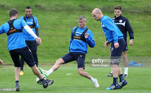 Paul Konchesky challenges Matthew Upson during the Leicester City training session at Belvoir Drive Training Ground on April 23, 2015 in Leicester,...