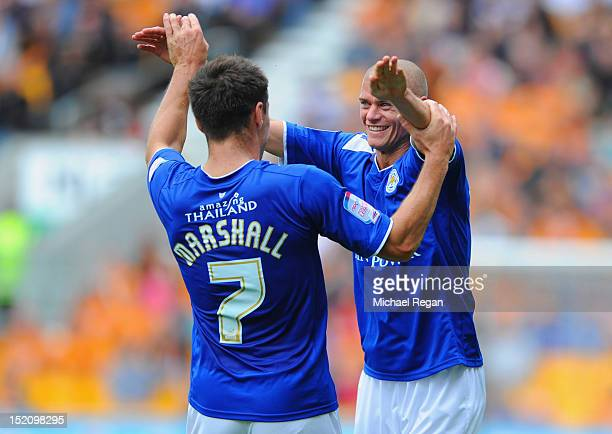 Paul Konchesky of Leicester celebrates scoring to make it 21 with Ben Marshall during the npower Championship match between Wolverhampton Wanderers...
