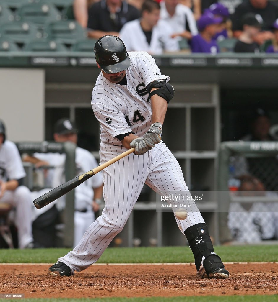 Paul Konerko #14 of the Chicago White Sox bats against the Minnesota Twins at U.S. Cellular Field on August 3, 2014 in Chicago, Illinois. The Twins defeated the White Sox 16-3.