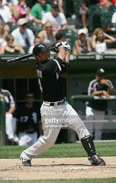 Paul Konerko of the Chicago White Sox bats against the Minnesota Twins on July 8 2007 at US Cellular Field in Chicago Illinois The White Sox won 63