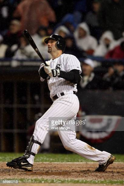 Paul Konerko of the Chicago White Sox celebrates his grandslam during the seventh inning of Game Two of the Major League Baseball World Series...