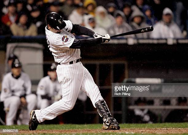 Paul Konerko of the Chicago White Sox hits a grandslam during the seventh inning of Game Two of the Major League Baseball World Series against the...