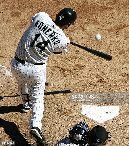 Paul Konerko of the Chicago White Sox hits one of four White Sox home runs against Randy Johnson of the New York Yankees in the fourth inning on...