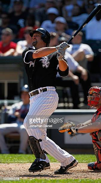 Paul Konerko of the Chicago White Sox hits the game winning home run a tworun shot in the 8th inning against the Atlanta Braves at US Cellular Field...