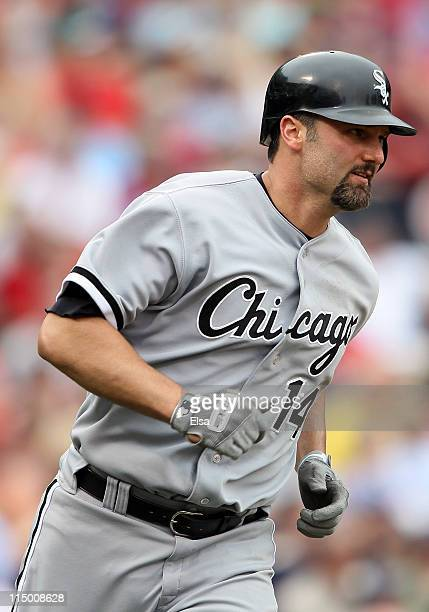 Paul Konerko of the Chicago White Sox rounds first after he hit a two run home run in the ninth inning against the Boston Red Sox on June 1 2011 at...