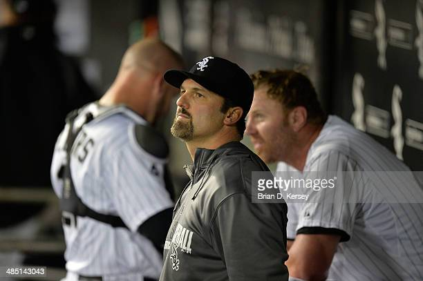 Paul Konerko of the Chicago White Sox stands in the dugout during the seventh inning against the Cleveland Indians at US Cellular Field on April 11...