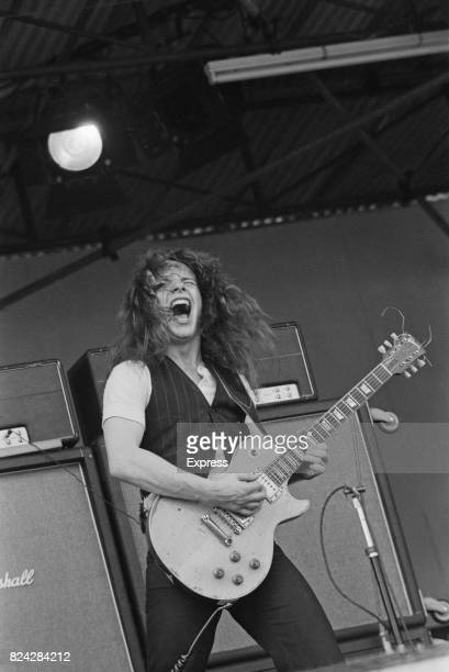 Paul Kossof, guitarist of English rock band Free, performing on stage at Isle of Wight Festival, 30th August 1970.