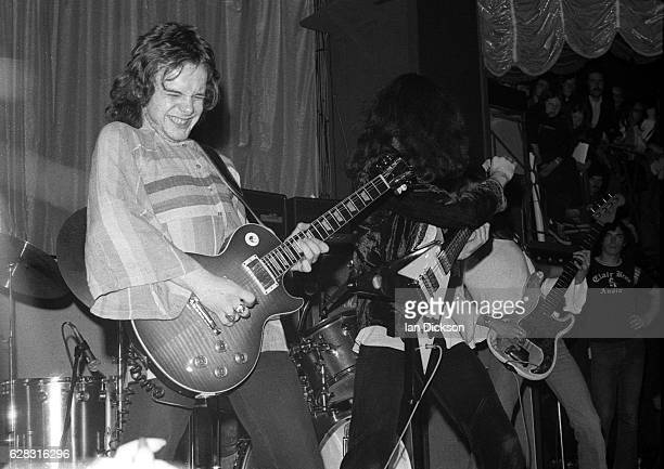 Paul Kossoff and Paul Rodgers of English blues rock band Free performing on stage in United Kingdom 1972