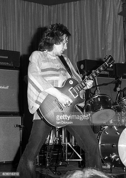 Paul Kossoff of English blues rock band Free performing on stage in United Kingdom, 1972. He is playing a Gibson Les Paul Standard guitar.
