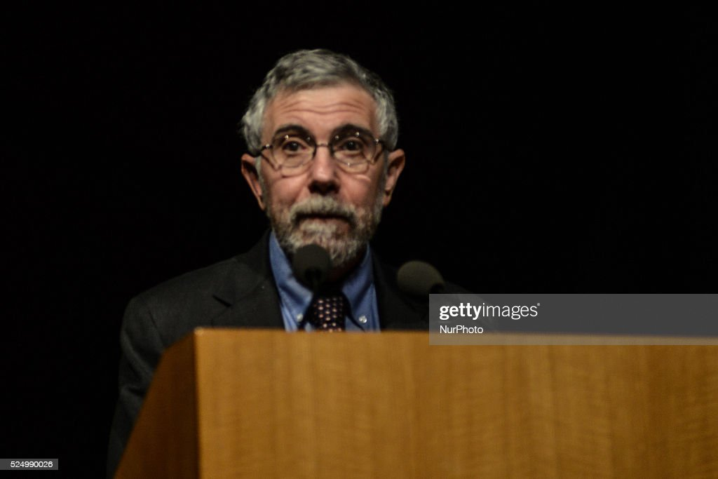 Paul Krugman, honored with the Nobel price for economy holding a speech in Athens on April, 17. Krugman criticises the a : News Photo