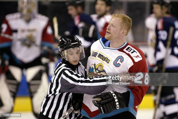 Paul Kruse of the Belfast Giants after a fight at the Odyssey Arena, Belfast, Northern Ireland. Photo by Michael Cooper/Getty Images