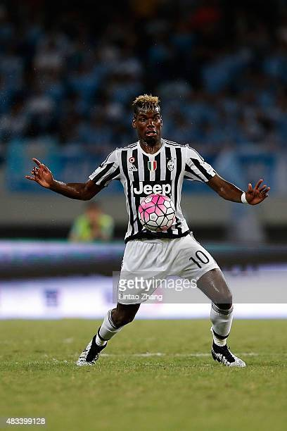 Paul Labile Pogba of Juventus FC in action during the Italian Super Cup final football match between Juventus and Lazio at Shanghai Stadium on August...
